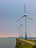 Windturbines on a Pier Royalty Free Stock Photo