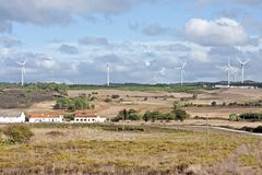 Windturbines in Portugal Royalty Free Stock Photography