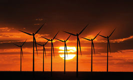 Windturbines at sunset Royalty Free Stock Image
