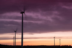 Windturbines at sunset Royalty Free Stock Photo