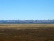 Windturbines voor elektriciteit bij meer george, handeling stock afbeeldingen