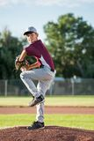 Windup from the baseball mound. Baseball Pitcher on the field about to pitch the ball. Outside. Warm, sunny day Stock Photography
