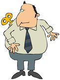 Windup Man. This illustration depicts a man with a winding key on his back Stock Image