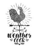 Windvane, ярлык лопасти погоды Значок или логотип Weathercock Иллюстрация вектора литерности иллюстрация штока