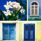 Windw and door. Collage from croatian windows, door and oleander flower Stock Photos