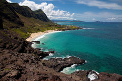 Windward Oahu Scenic. View of mountains, cliff, and clear ocean on Oahu, Hawaii Royalty Free Stock Photo