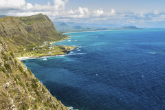 Windward Oahu. The Windward side of Oahu, Hawaii, with Waimanalo Bay and the Koolau Mountain Range Royalty Free Stock Photos