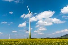 Windwheels в поле рапса Стоковое Изображение