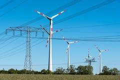 Windwheels i władza przekazu linie w Niemcy Zdjęcia Royalty Free