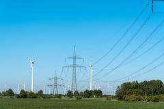 Windwheels i władza przekazu linie w Niemcy Obraz Royalty Free
