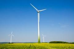 windwheels rapeseed поля Стоковое фото RF
