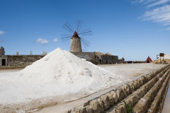 Windwill. At the salt ponds near Trapani in Sicily Royalty Free Stock Photo