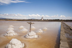 Windwill. At the salt ponds near Trapani in Sicily Stock Photo