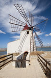 Windwill. At the salt ponds near Trapani in Sicily Stock Image