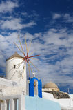 Windwill of Oia Santorini, Greece, copyspace. View of Oia windmill at the Island Santorini, Greece. Lot of copyspace Stock Images