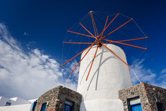 Windwill of Oia Santorini, Greece, copyspace. View of Oia windmill at the Island Santorini, Greece. Lot of copyspace Royalty Free Stock Image