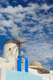 Windwill of Oia Santorini, Greece, copyspace. View of Oia windmill at the Island Santorini, Greece. Lot of copyspace Royalty Free Stock Photo