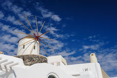 Windwill of Oia Santorini, Greece, copyspace. View of Oia windmill at the Island Santorini, Greece. Lot of copyspace Royalty Free Stock Photos