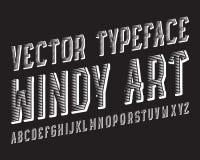 Windy Art Vector stilsort Vit dynamisk stilsort Isolerat engelskt alfabet Stock Illustrationer