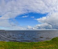 Windy autumn day on the shore of lake Ladoga. stock photos