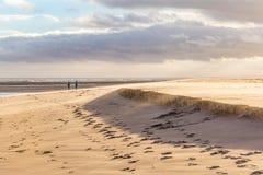 Windy Beach avec le sable de soufflement Photos stock