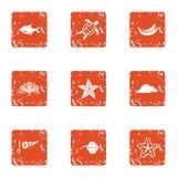 Windy coast icons set, grunge style. Windy coast icons set. Grunge set of 9 windy coast vector icons for web isolated on white background Stock Images
