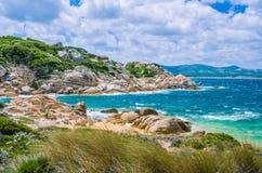 Windy costline with granite rocks near Costa Serena, Sardinia, Italy Royalty Free Stock Photo
