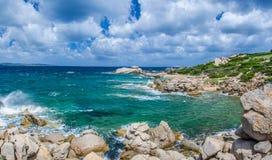 Windy costline with sandstone rocks near Costa Serena, Sardinia, Italy Stock Image