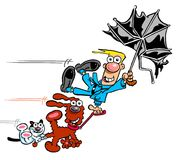 Windy day cartoon caricature. Cartoon caricature of man holding umbrella,dog and cat on windy day Royalty Free Stock Images