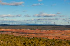 Windy day at Castilla-La Mancha, Spain Stock Photos