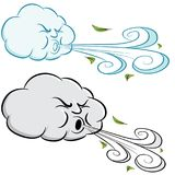 Windy Day Cloud Blowing Wind e folhas ilustração do vetor