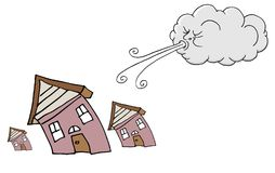 Windy Day Homes and Cloud Blowing Wind Royalty Free Stock Image