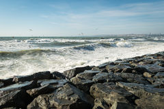 Windy day in Istanbul. Stormy sea of Marmara Royalty Free Stock Image