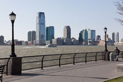 Windy day on Manhattan riverfront Stock Photos