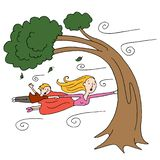 Windy Day Mother and Child Holding Onto a Tree Stock Illustration