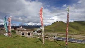 Windy Day nel villaggio di Tagong, Sichuan, Cina Immagine Stock