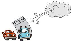 Windy Day Truck Cars and Cloud Blowing Wind Royalty Free Stock Images