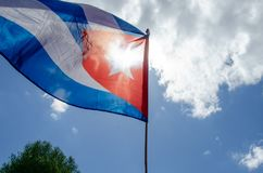 Windy flag of cuba with backlight Stock Image