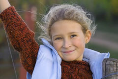 Windy girl. Pretty girl with flying hair Royalty Free Stock Images