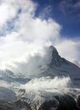 Windy Matterhorn. Matterhorn in the clouds and wind (Switzerland stock image