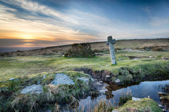 Windy Post on Dartmoor. An ancient stone cross at Windy Post on Darmoor National Park in Devon Stock Photos
