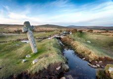 Windy Post sur Dartmoor image libre de droits