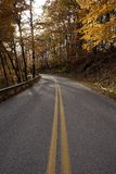 Windy road on a fall morning royalty free stock image
