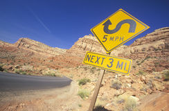 Windy road sign Stock Photo