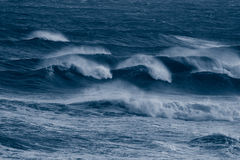 Windy sea. Blue waves on a stormy day at the sea Stock Photos