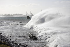 Windy seas. Lots of spray being blown off some large waves Royalty Free Stock Images