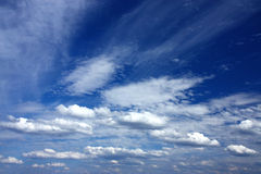 Windy sky full of clouds. Windy sky full of white clouds Stock Photo