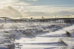 Windy snow scene. Snow being blown by high winds in weardale stock photo