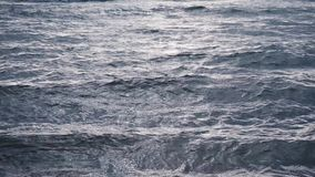 Windy stormy sea surface waves. Windy stormy sea surface on sunset stock video footage
