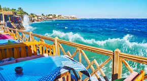 The windy stormy weather in Dahab, Sinai, Egypt Royalty Free Stock Images